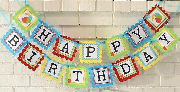Happy Birthday Beach Ball Theme Banner Customizable Party Summertime Pool Fun In The Sun 1st