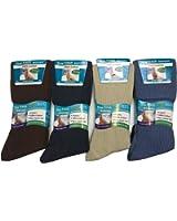 12 pairs Mens 100% Cotton Big Foot Diabetics Assorted Non-Elastic Socks, Mens Soft Top Rib Socks, size UK 11-14(BB10514A)