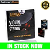 Violin Strings Set - Dominant Violin Strings - Ebook Violin mastery - Premium Quality Violin String Fit 4/4 or 3/4 Size With Steel Ball End. Warmest Tones & Unmatched Durability.