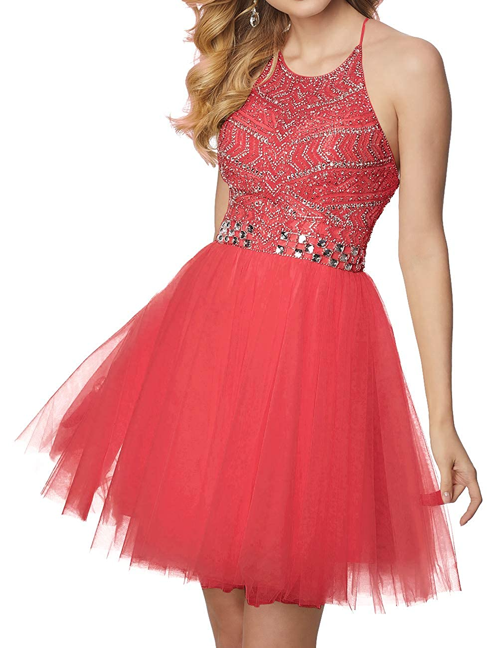 Coral Short Homecoming Dresses Tulle Halter Cocktail Prom Gowns Beads Formal Evening Party Dress