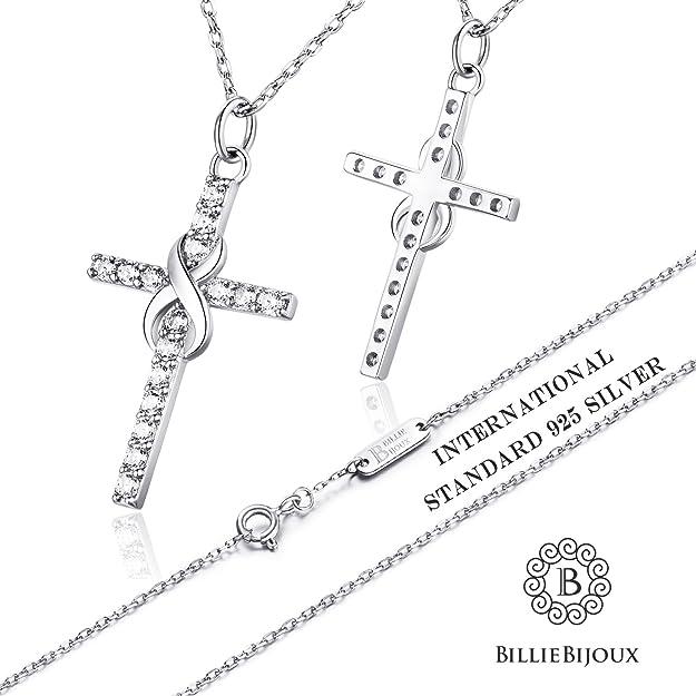 71c6d12dc117 Billie Bijoux Plata de ley 925 Collar Infinito Cruz CZ Diamante Oro Blanco  Plateado Colgante Mujeres Niñas Regalo para Graduación Cumpleaños Día de  Navidad ...