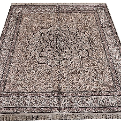 Yilong 8'x10′ 400Lines Antique Silk Handmade Rugs Traditional Persian Floral Medallion Carpet