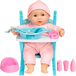 Best Choice Products 12.5in Realistic Baby Doll, Life-Size Toddler Doll with Soft Body, Highchair, Potty, Pacifier, Bottle, 9 Accessories Included