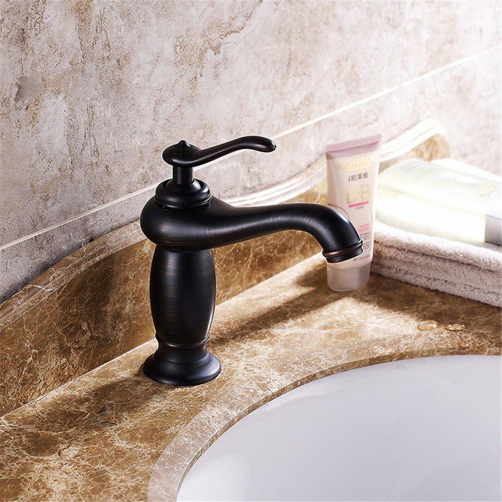 FHLYCF Basin faucet, retro copper, black hot and cold faucet, single hole, under Basin Bath, bath faucet by FHLYCF Faucet
