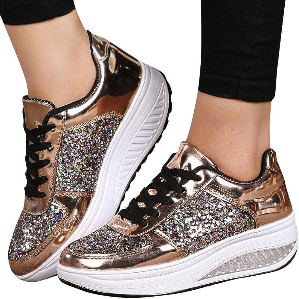 Fashion Sneaker Miuye yuren Womens Lace up Wedge Shoes Sequins Shake Shoes Girls Sport Shoes