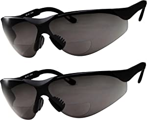 2 Pairs Bifocal Safety Sunglasses Black Lens with Reading Corner - Fully Adjustable Arms Diopter/+2.00