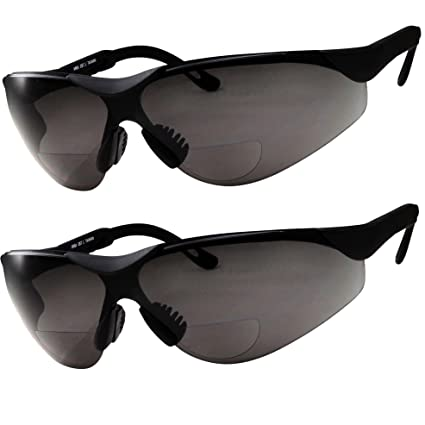 a0ff3adb9d 2 Pairs Bifocal Safety Sunglasses Black Lens with Reading Corner - Fully  Adjustable Arms Diopter +1.50 - - Amazon.com