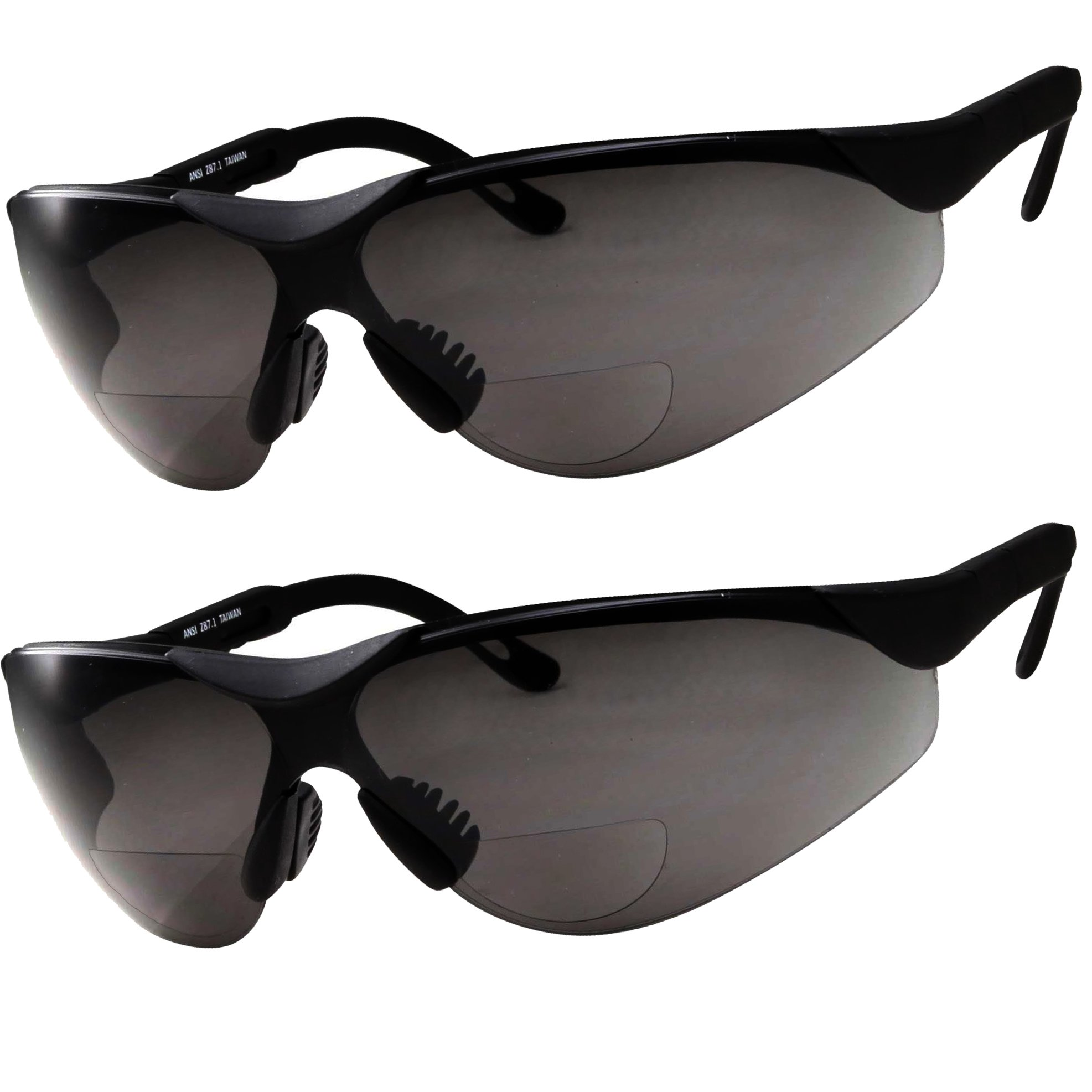 2 Pairs Bifocal Safety Sunglasses Black Lens with Reading Corner - Fully Adjustable Arms Diopter/+1.50