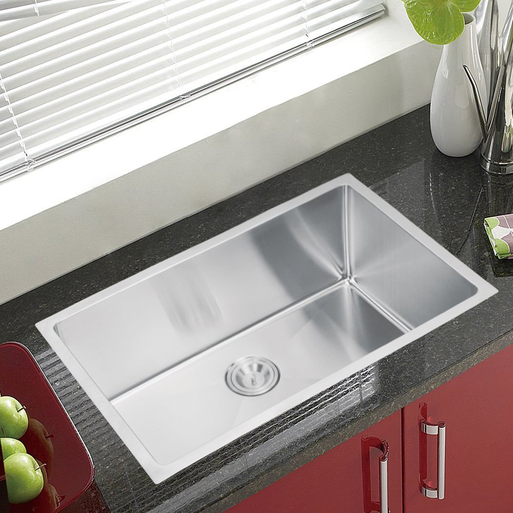 Water Creation SS U 3018B 30 Inch By 18 Inch Under Mount Single Bowl Stainless  Steel Kitchen Sink With Coved Corners   Single Bowl Stainless Undermount  Sink ...