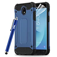 Samsung Galaxy J3 2017 Case - Rugged Tough Dual Layer Armor Case Shockproof and Hard Back Case Cover with Screen Protector, Microfibre Polishing Cloth and Touch Stylus (Blue)