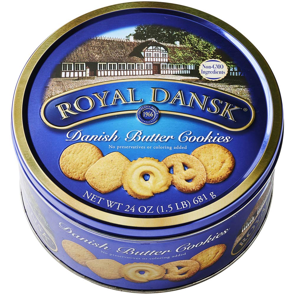 Royal Dansk Danish Cookies Tin, butter, 24 Ounce