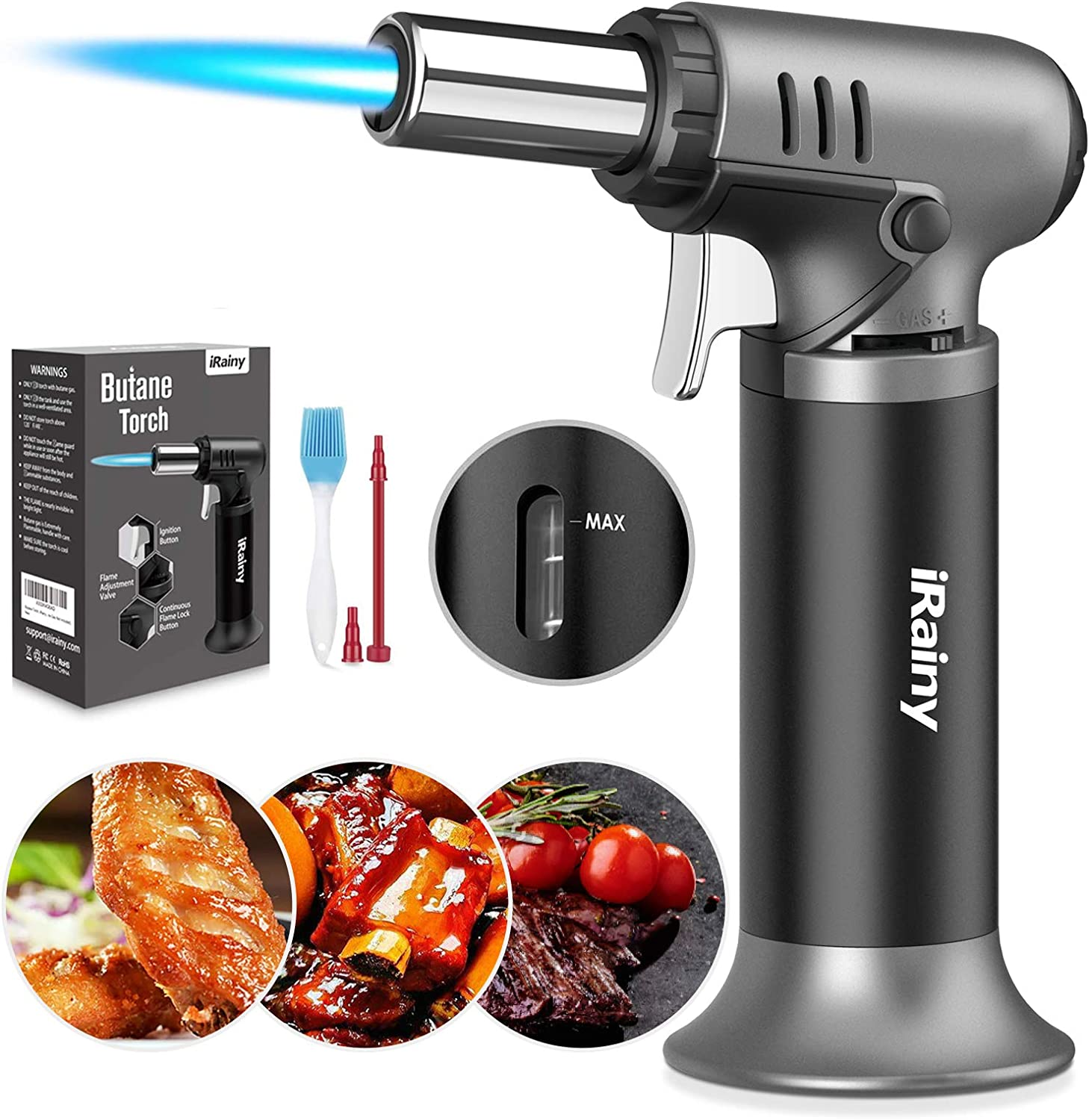 iRainy Butane Torch, Kitchen Blow Torch Refillable Cooking Torch Lighter with Fuel Gauge, Culinary Torch with Continuous Flame Lock & Adjustable Flame for Desserts, BBQ (Butane Gas Not Included)
