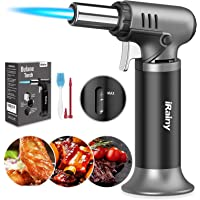 iRainy Butane Torch, Kitchen Blow Torch Refillable Cooking Torch Lighter with Fuel Gauge, Culinary Torch with Continuous…