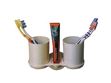 Takestop® Soporte Vaso Vasos Porta cepillo dientes Pasta de dientes con ventosa 20 cm Longitud