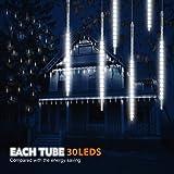 Samoleus 30cm 10 tubo 300 LED Meteor Luci Natale con EU Spina, IP65 Impermeabili Meteor Shower Light Luci Natalizie per Esterni Giardino Festa di Noz (Bianco-30CM)
