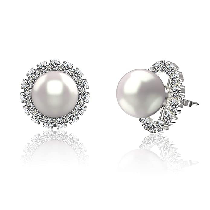 Vintage Style Jewelry, Retro Jewelry .925 Sterling Silver AAA+ 7-8mm Freshwater Cultured Pearl & Cubic Zirconia Convertible Halo Stud Earrings $14.99 AT vintagedancer.com