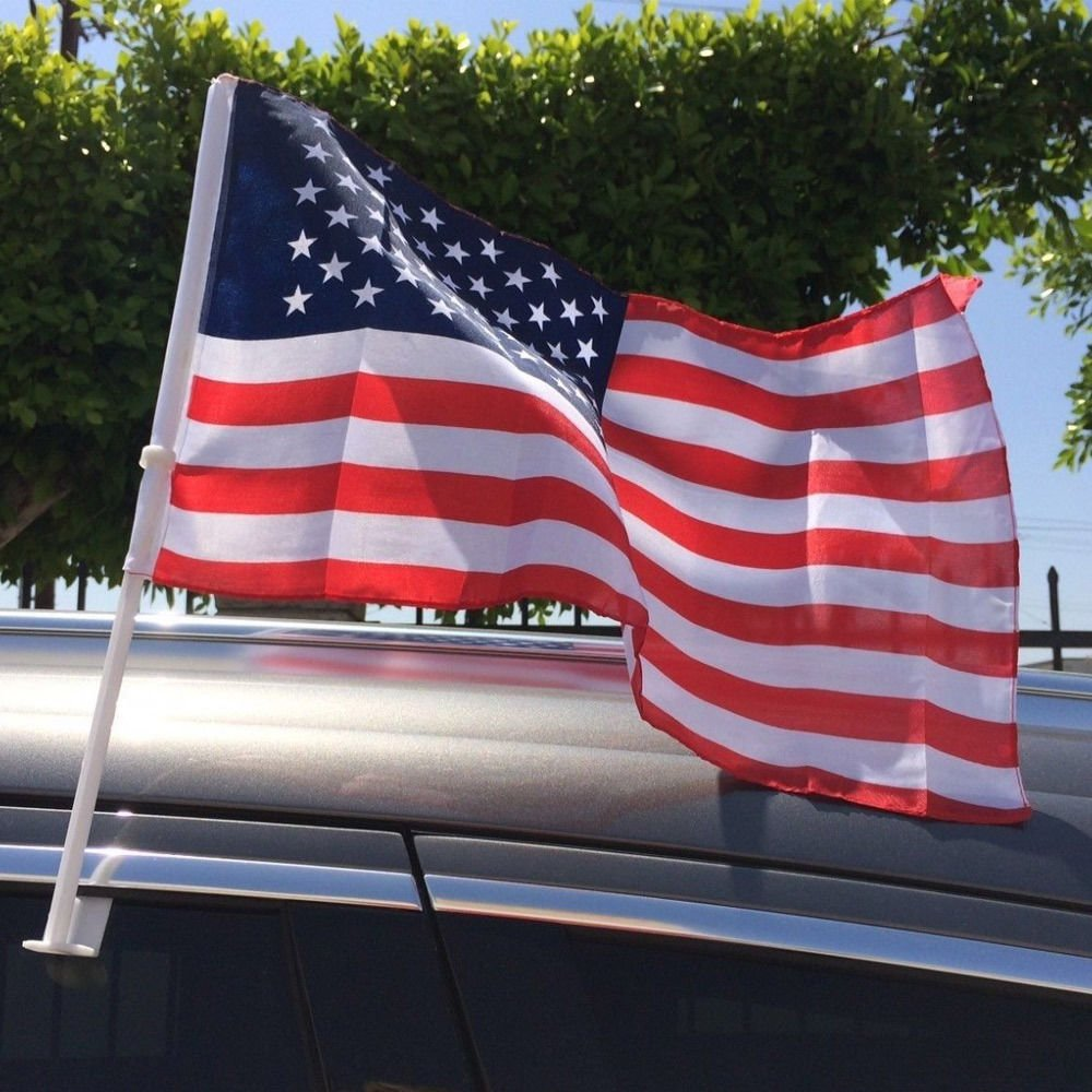 Jproducts 12 or 8 or 100 x US American Patriotic Car Window Clip USA Flag 17 x 12