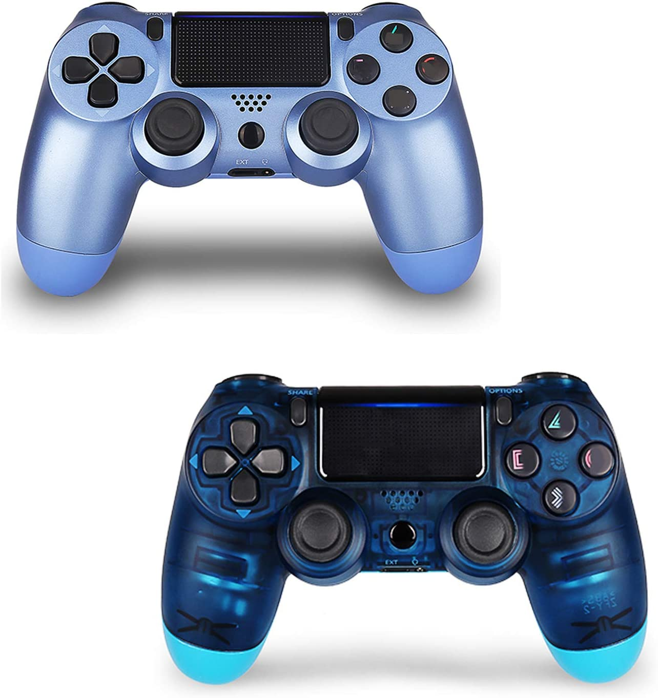 2 Pack Controller for PS4,Wireless Controller for Playstation 4 with Dual Vibration Game Joystick (2 Blue)