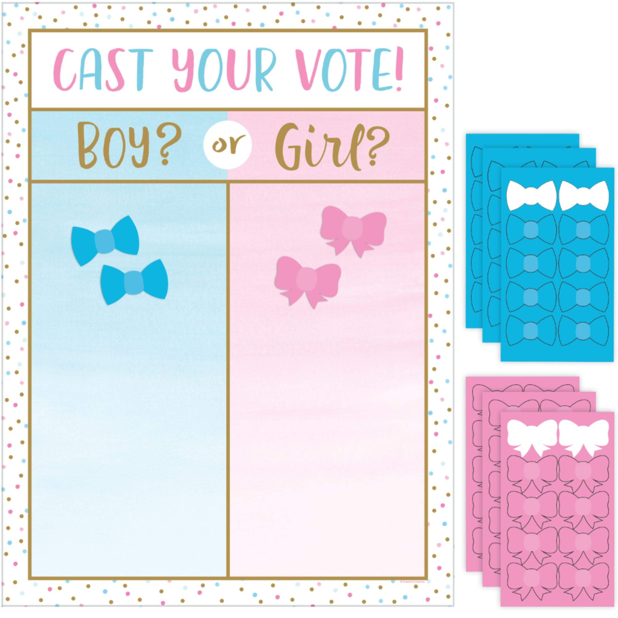 Pack of 6 Pink and Blue Gender Reveal Cast Vote Party Game 24'' by Party Central