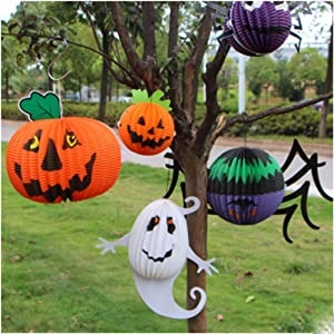 JIAHUI 3pcs There-dimensional Halloween Paper Lanterns Ghost Spider Bat Fold Up Honeycomb Lanterns Hanging Halloween Decoration Garden Home Yard Party Props Gift for Kids