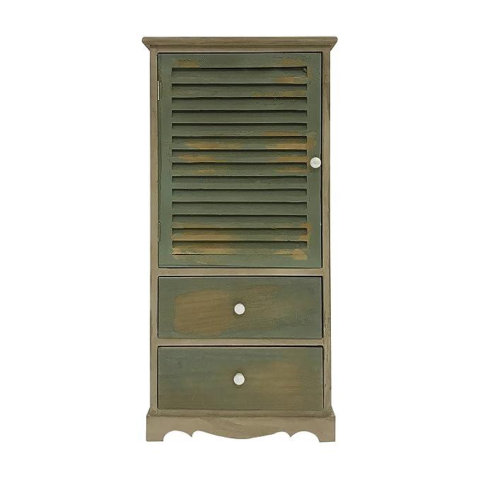 Rebecca Mobili Mueble armario vintage, mueble de baño 2 cajones 1 puerta, madera de paulownia, marrón verde, cuarto de baño - Medidas: 90 x 42 x 32 cm ...