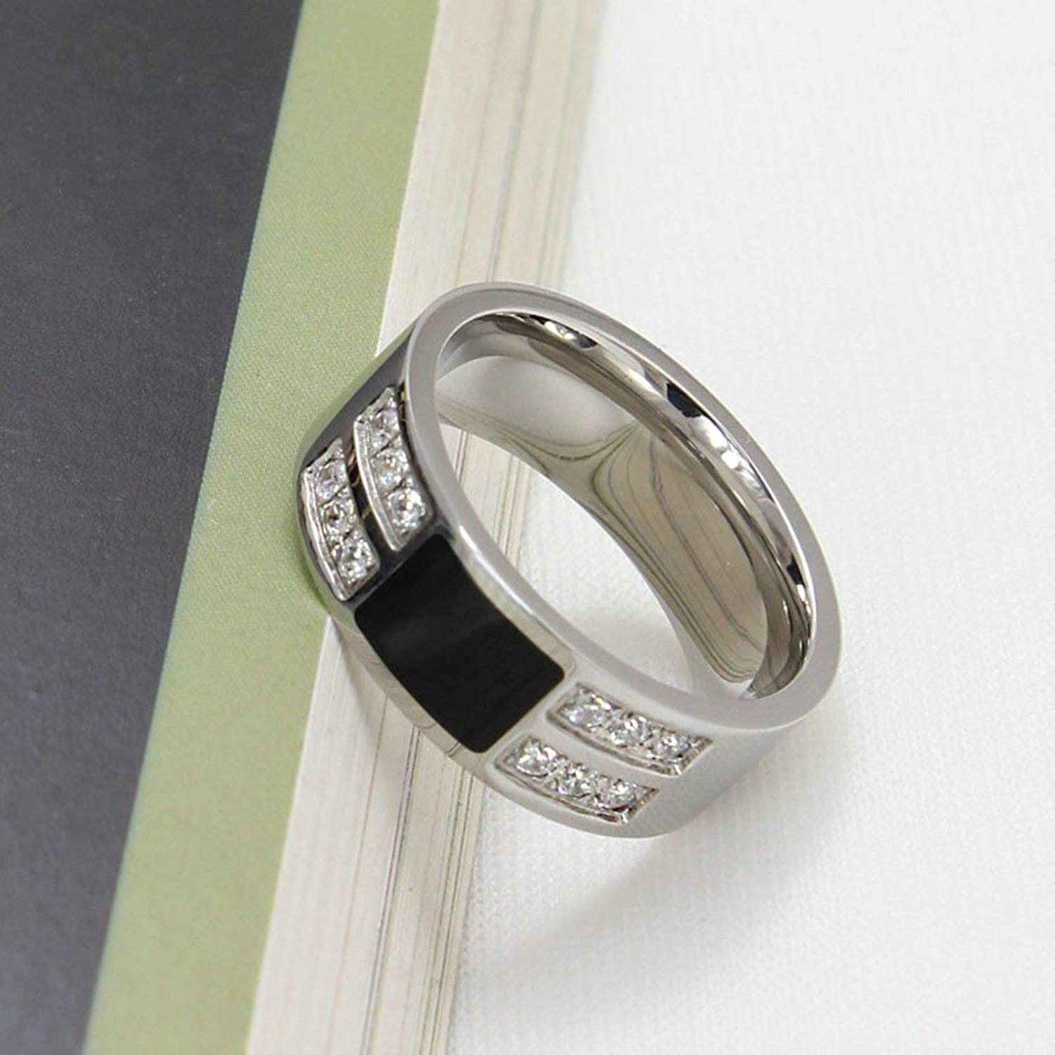 Aooaz Stainless Steel Ring Wedding Silver Cubic Zirconia Ring Stackable Ring Sets Men and Women
