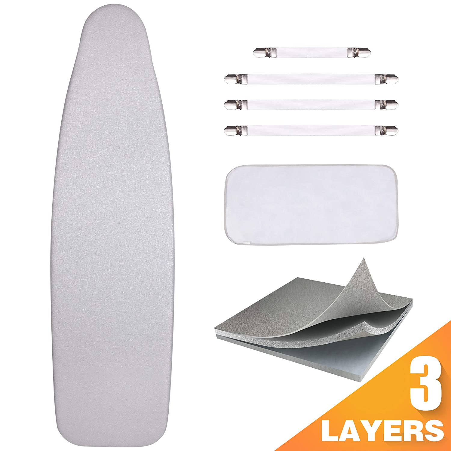 "Sunkloof Silicone Coating Ironing Board Cover and Pad Resists Scorching and Staining Ironing Board Cover with Elasticized Edges and Pad 15""x54"" 4 Fasteners and 1 Large Protective Scorch Mesh Cloth"