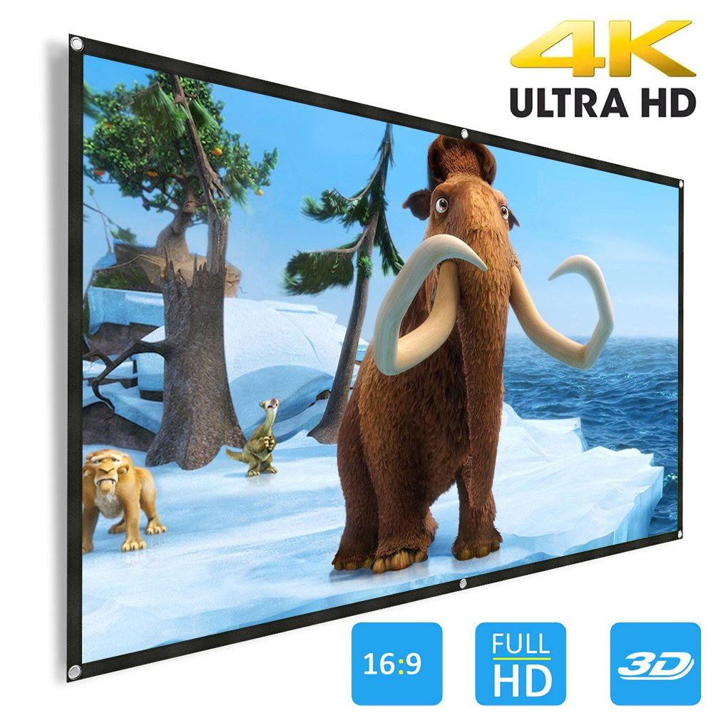 Projector Screen, Weton 120 inch 16:9 HD Projector Screen Portable Anti-Crease Indoor Outdoor Projection Movie Screen Foldable Wall Mounted Projection for Home Theater Sports Party Presentations