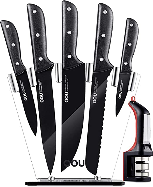 Kitchen Knife Set - OOU 7 Knife Set with Block, FDA Stainless Steel Kitchen Knives Ultra Sharp - Full Tang Triple Rivets, Ergonomic Handle, BO ...