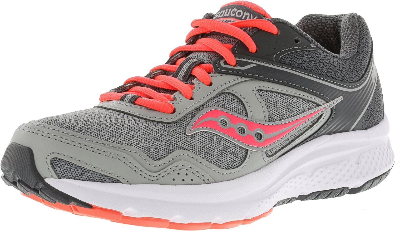 Saucony Women's Cohesion 10 Running Shoe B075FC2ZBY 11 B(M) US|Grey/Coral