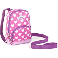 Nuby Quilted Baby Backpack with Safety Harness,Pink Hearts