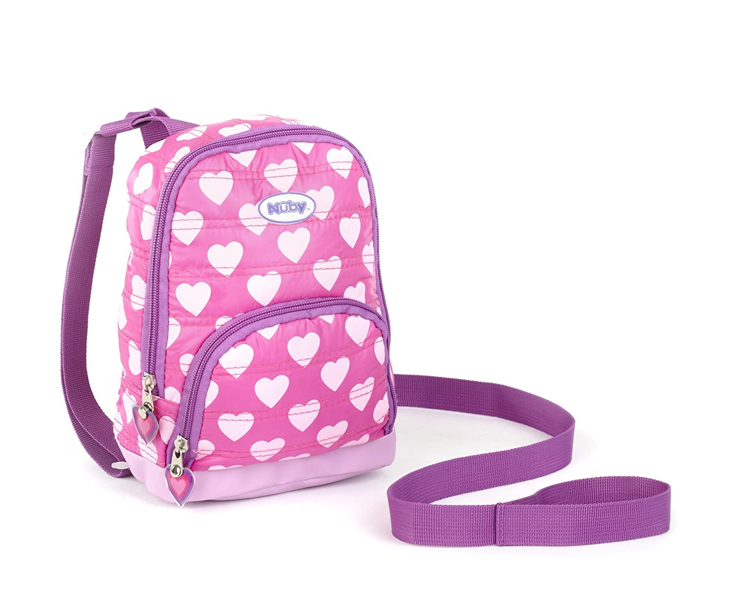 Nuby Quilted Baby Backpack with Safety Harness,Pink Hearts 120019