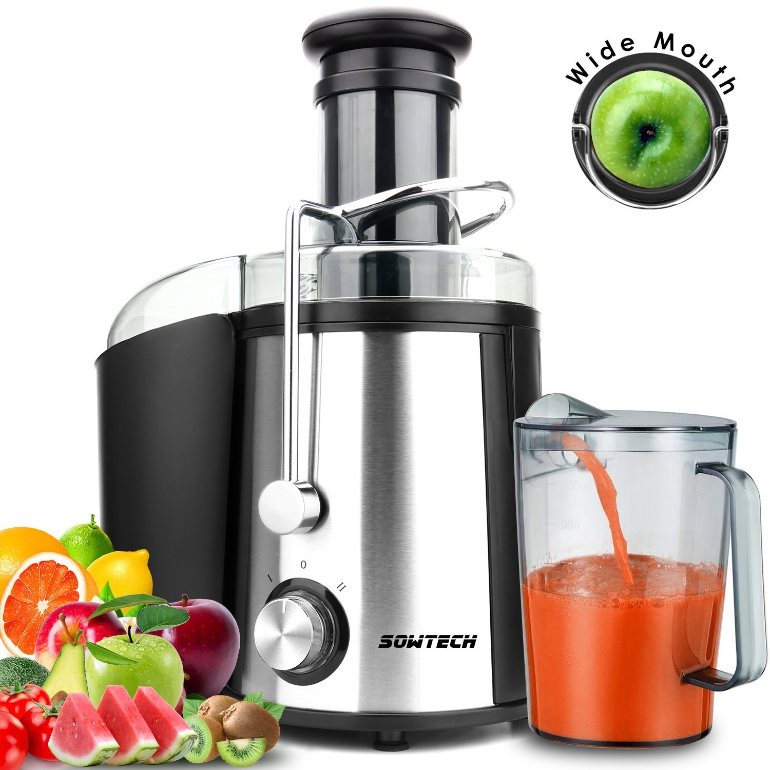 Juice Extractor, SOWTECH 800W Stainless Steel Juice Machine Squeezer with 3 inch Wide Mouth Easy Cleaning BPA Free Two Speed Mode Centrifugal Juicer for Fruits and Vegetable ST-HM221
