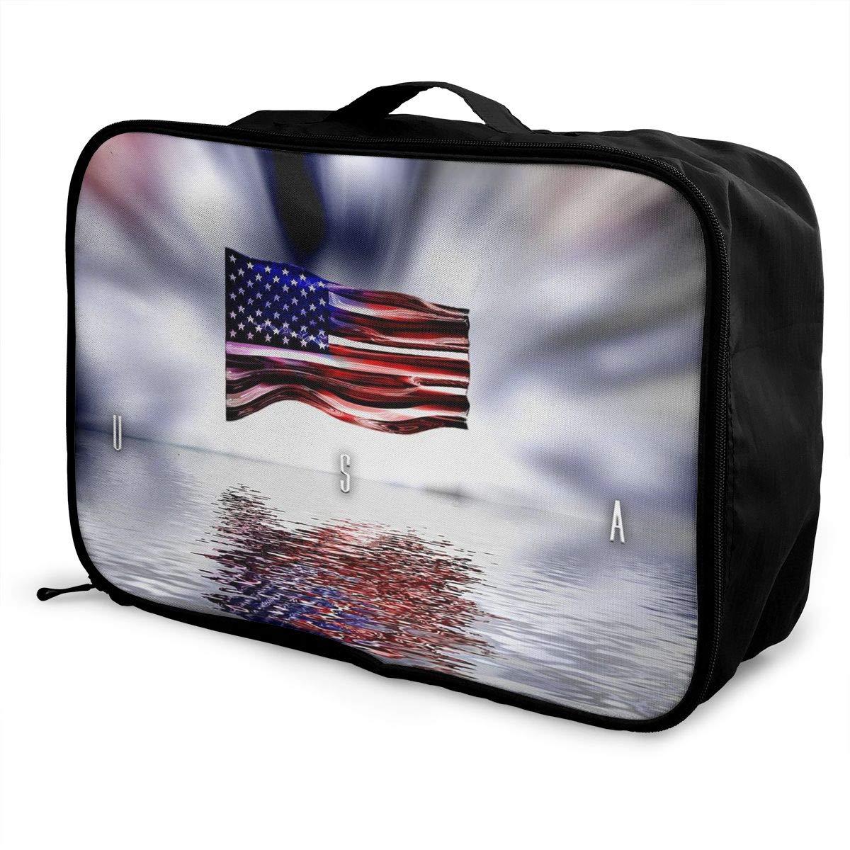 Travel Luggage Duffle Bag Lightweight Portable Handbag USA Flag Large Capacity Waterproof Foldable Storage Tote