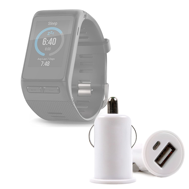 DURAGADGET Chargeur Voiture USB pour Montre connectée Garmin Vivoactive HR, OUKITEL A28 SmartWatch, Jawbone UP2 et Runtastic Orbit + Chiffon Microfibre: ...