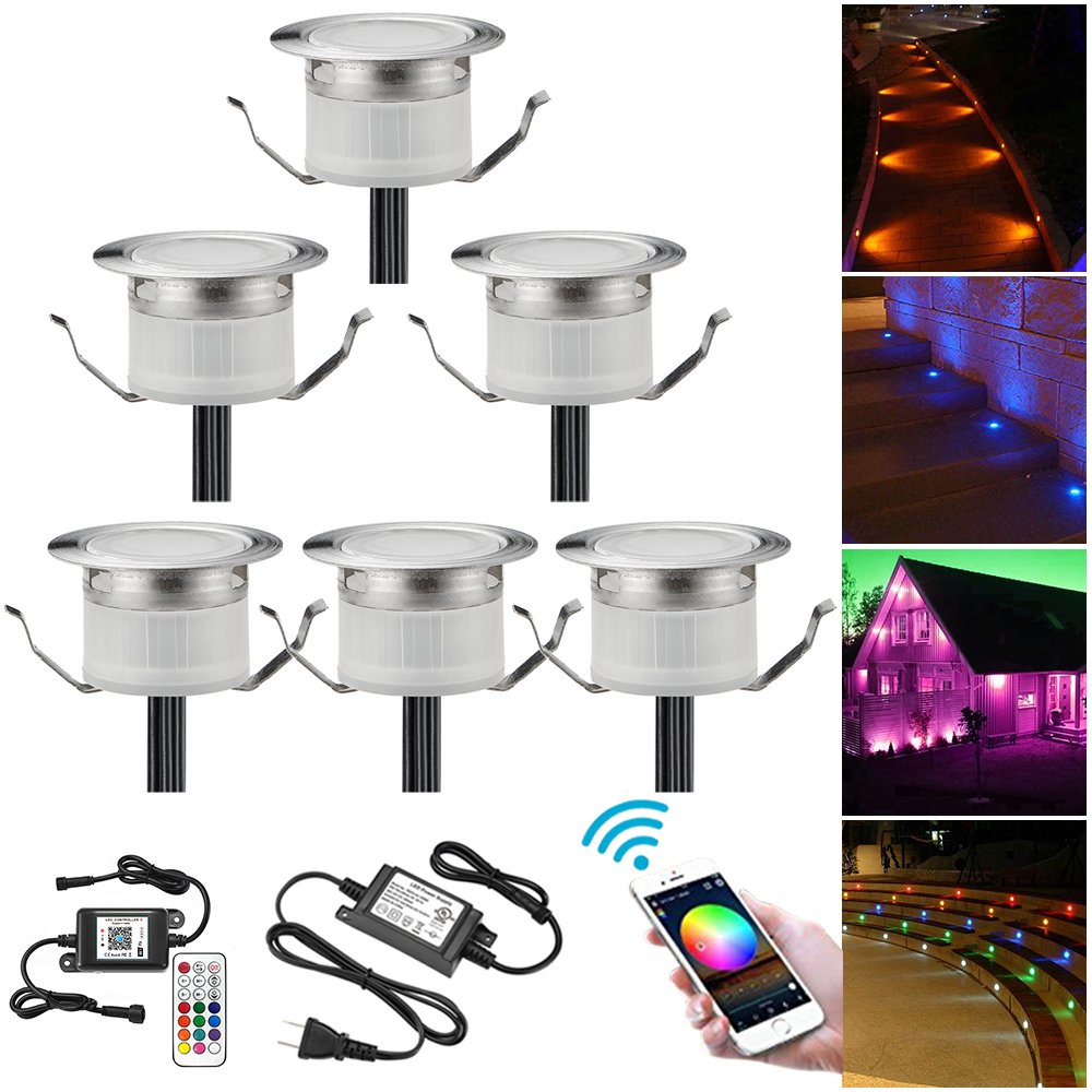 WiFi LED Deck Lighting Kits, FVTLED 6pcs Φ1.22'' Low Voltage LED Step Light Waterproof Decor Recessed Lamps Compatible with Alexa Google Home IFTTT Smartphone Controlled Color Changing Lights
