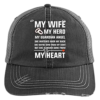 3862a951 My Wife Is My Angel Knit Cap, My Guardian Angel Hat (Trucker Cap - Black)  at Amazon Men's Clothing store: