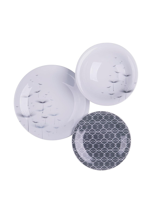 Farbe Excelsa Magatama Tafelservice aus Porzellan Grau 18-teilig