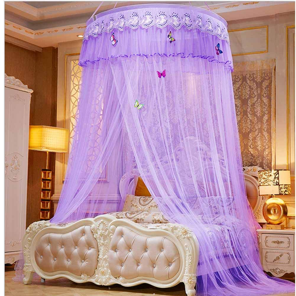 Bed Canopy Dream Tent Princess Canopy for Girls Bedroom Decorations Purple Color(Little Princess)