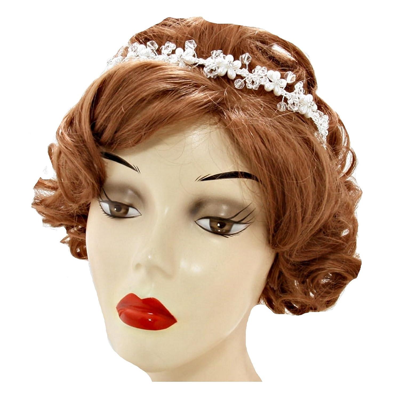 Gioielli ANT Sinfonia a mano sposa gioielli matrimonio Flessibile Diademe  Cerchietto fiori perle perline di cristallo trasparente bianco caldo  trasparente  ... 0f5321af90f5
