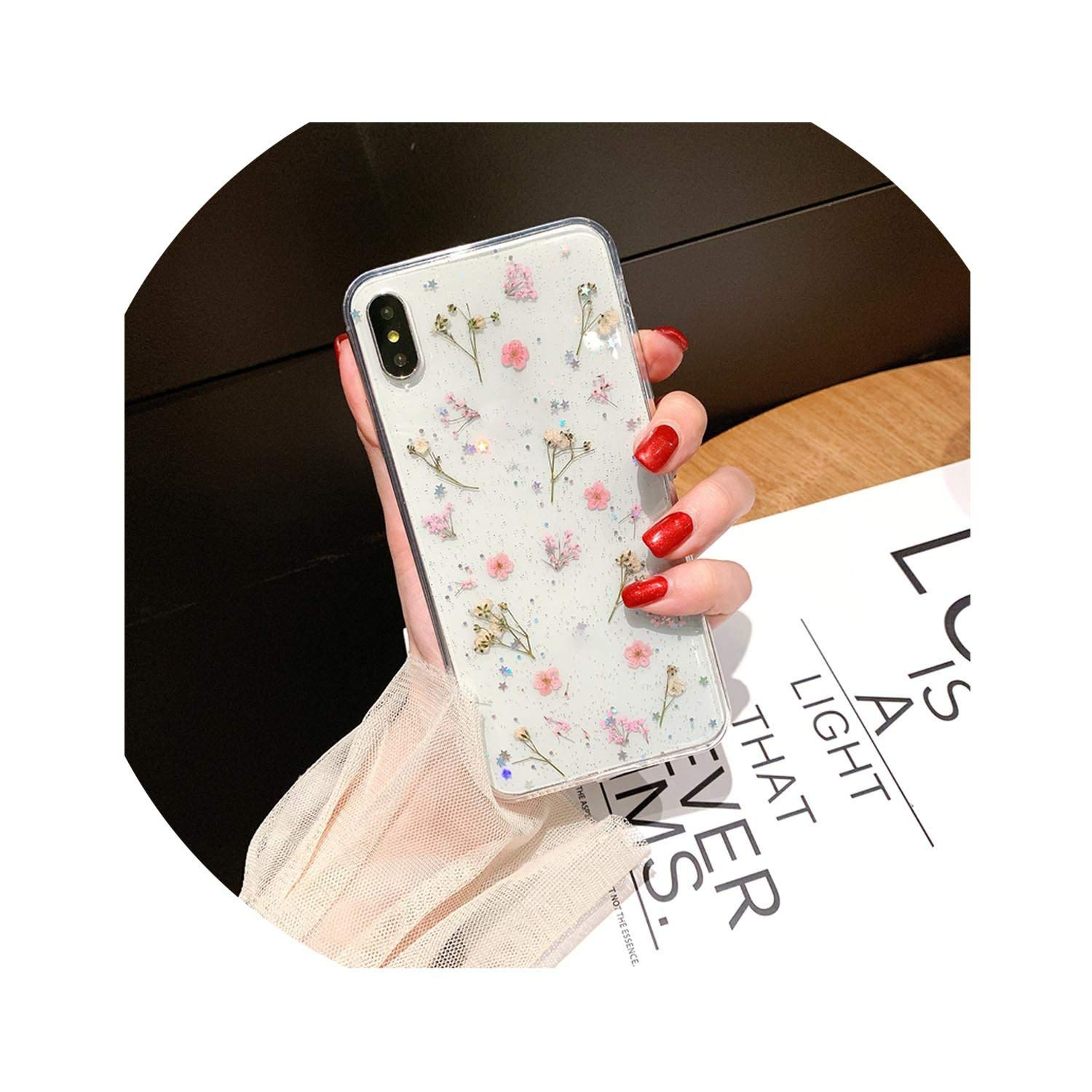 Real Pressed Dried Flowers Phone Case for iPhone Xs Max XR 6 6s 7 8 Plus X Silicon TPU Clear Floral Cover Cases,4,for iPhone 7 8