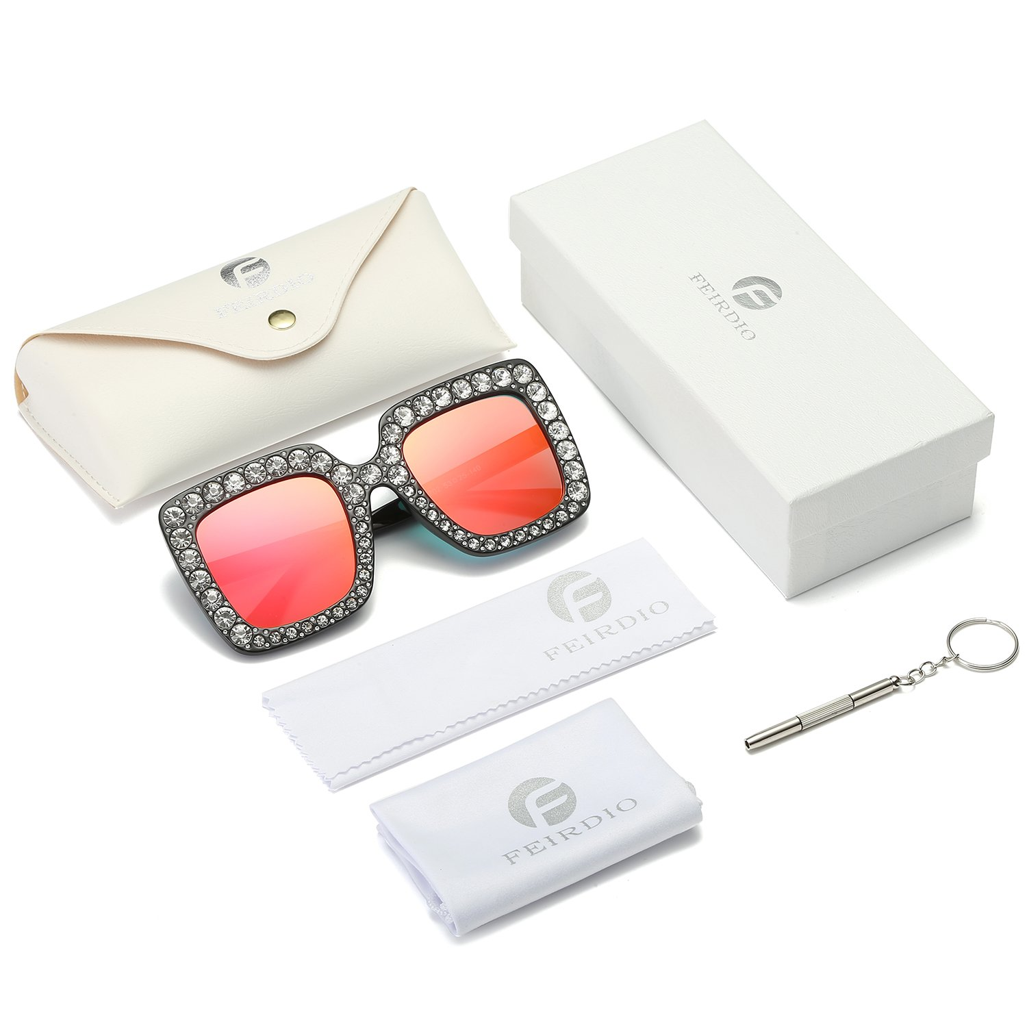 e823071a06 Oversized Crystal Sunglasses for Women- Feirdio Mirrored Square Sunglasses  women sunglasses 2264 (Red gradient