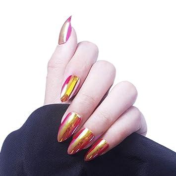 Amazoncom 28 Pcs Stiletto Nails Full Cover Chrome Powder Green