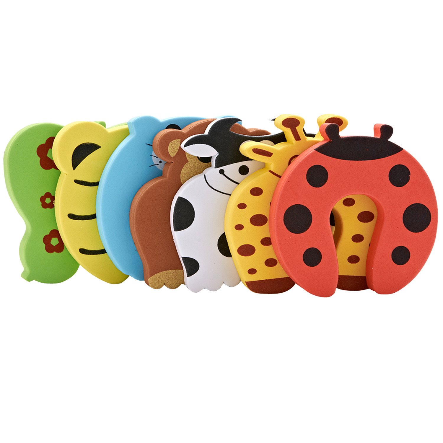 Door Stopper Finger Pinch Guard Set of 7, JamHoo Children Safety Colorful Cartoon Animal Foam Door Stop Cushion for Baby/Children Safe JamHooDirect