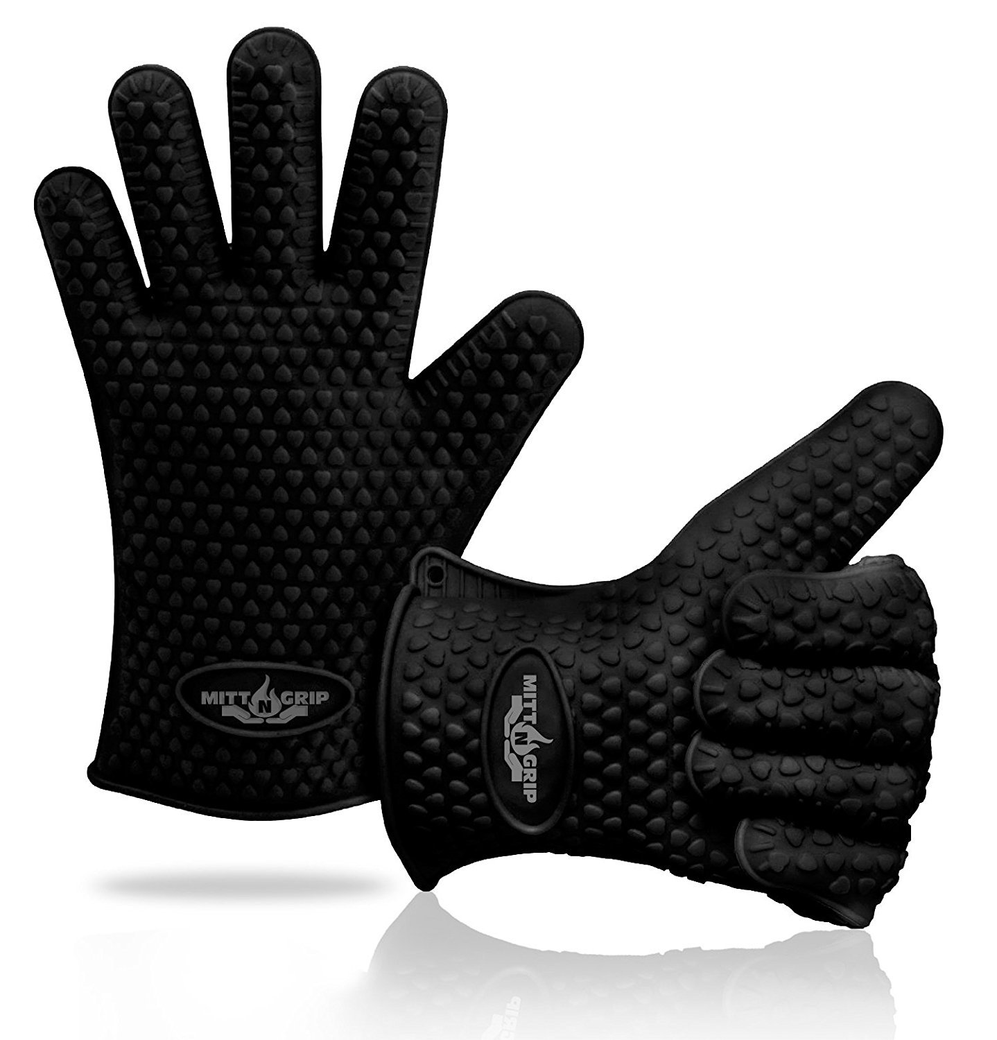 Mitt-N-Grip Extra Thick Silicone Oven Gloves - Black (Set of 2)