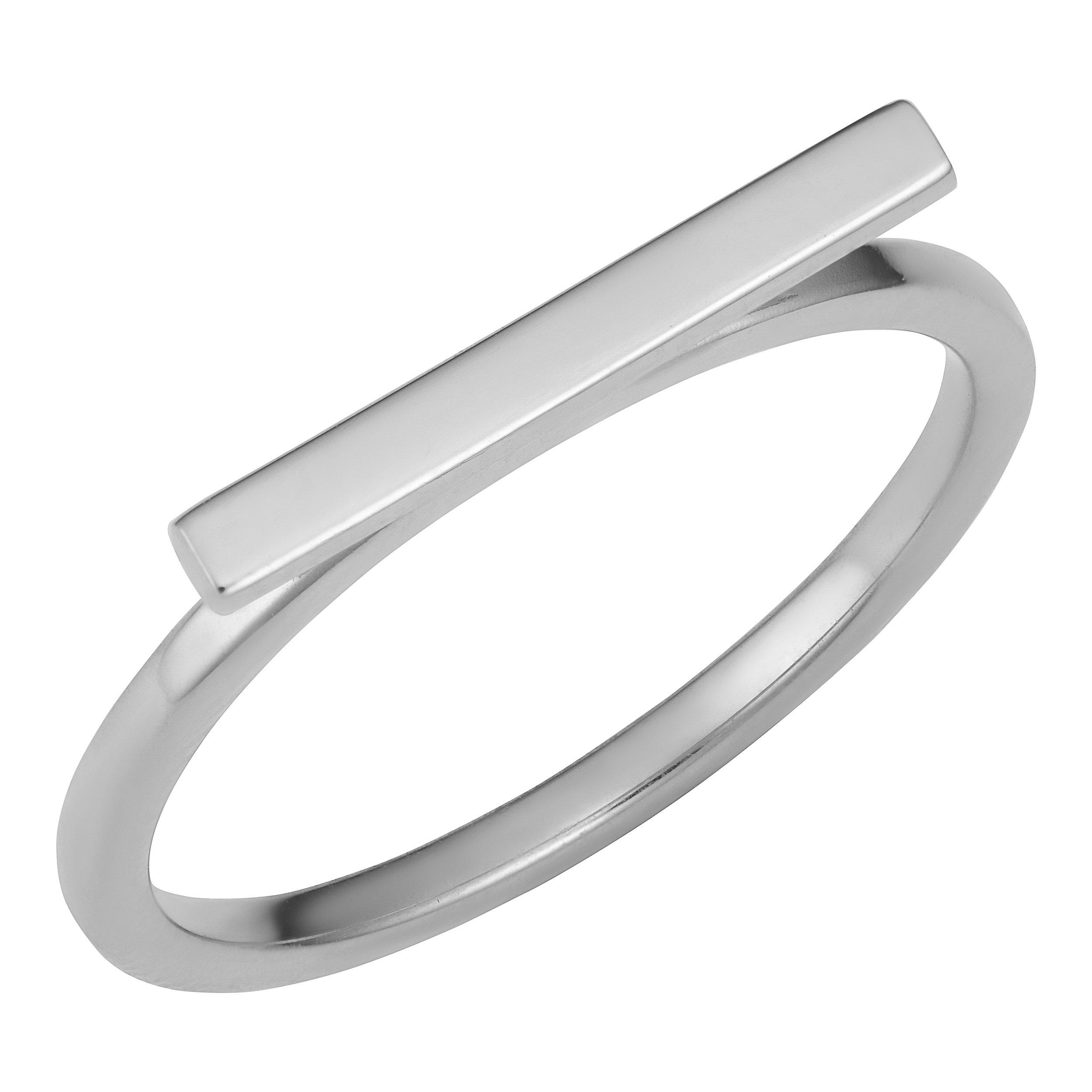 14k White Gold Horizontal Bar Ring (size 9)