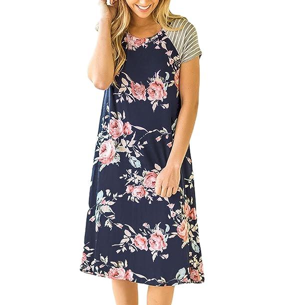 Vestidos Sueltos Cortos Mini Vestido de Verano Casuales Mujer Vestidos Playeros Estampados Floral para Fiesta Noche