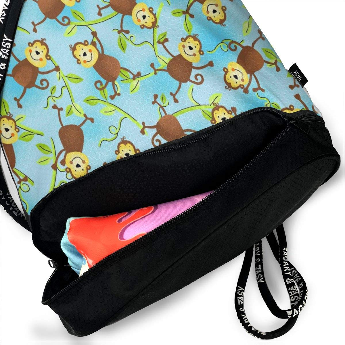 Sport Cinch Pack Backpack for Men Kji Gym Sack Drawstring Bag Monkeys Blue On Vines Printed Sackpack Women