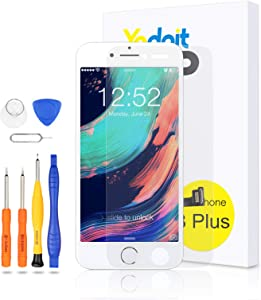 Yodoit for iPhone 8 Plus Screen Replacement White with Home Button, Front Camera, Ear Speaker, Full Assembly 5.5