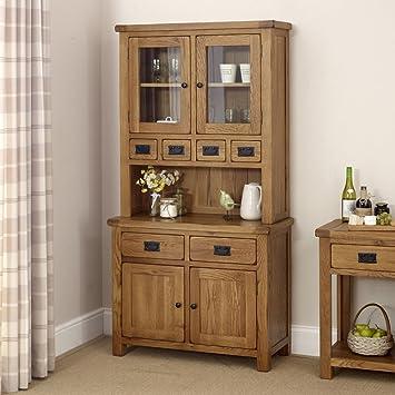 rustic oak 2 door glazed dresser camberley oak 2 door